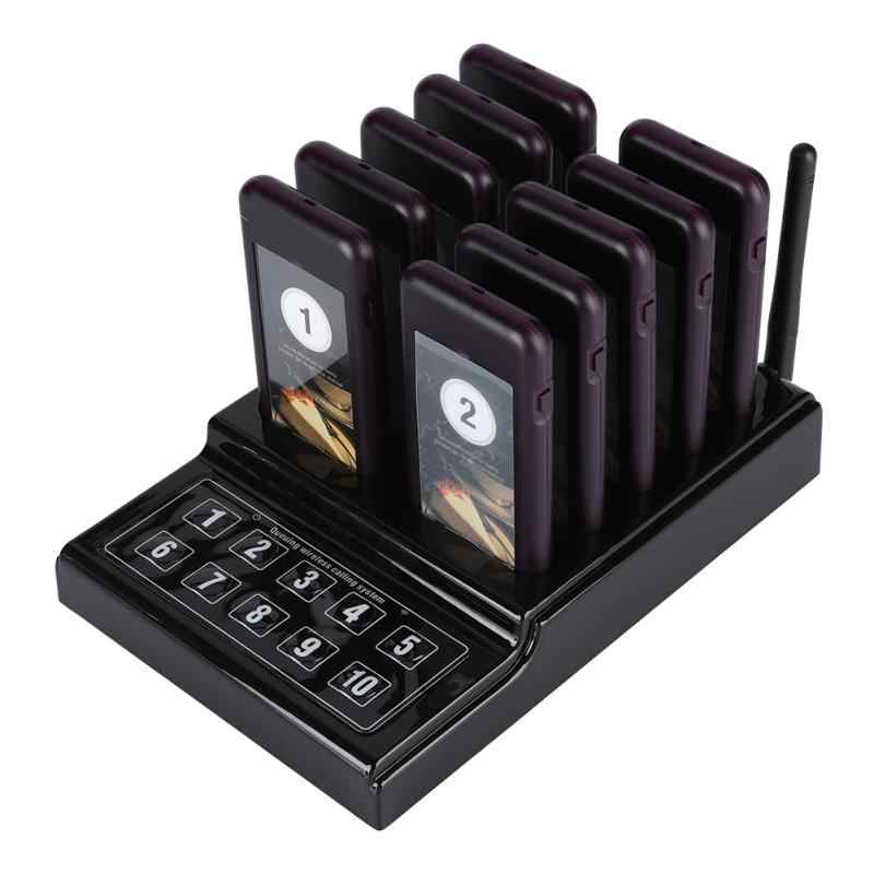 Wireless Pager System 10 Channel Calling Keypad Queuing Calling System Restaurant Pager 100-240V US Plug