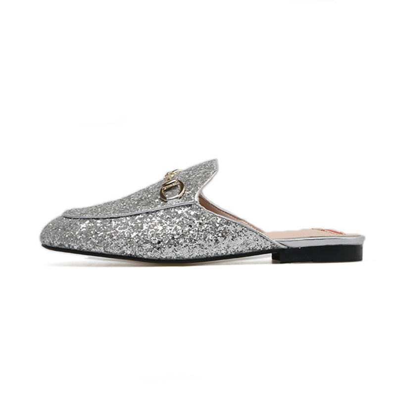 Silver Sparkling Leather Slippers Ladies Slippers Fashion Women Muller Shoes Horseshoe Clasped Love Insole Women's Shoes