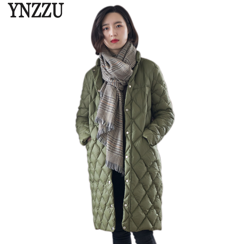 Elegant Womens Down Jacket Solid Stand Collar Long 90% White Duck Down Coat Korean Casual Female Jacket Coat AO573