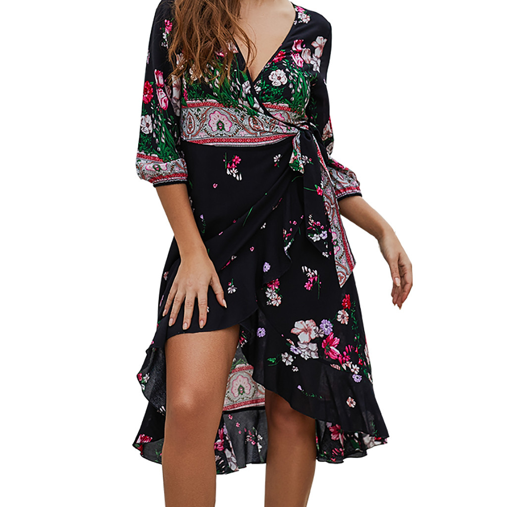 Dutiful Women Fashion Half Sleeve V-neck Printed Beach Knee-length Dress Summer Women Asymmetrical Lace-up Sexy Casual Dress G0328#20 Women's Clothing