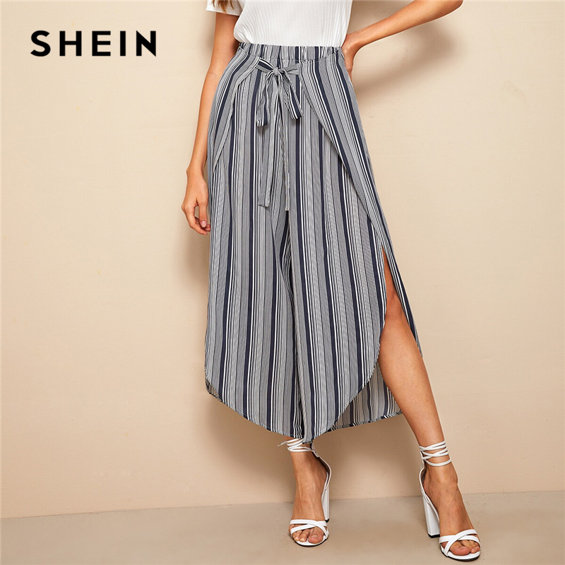 SHEIN Striped Tie Front Petal Hem   Wide     Leg     Pants   Blue Boho Loose Summer Crop Culottes Belted Split Wrap Elastic Waist Trousers