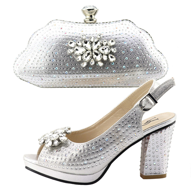 Italian shoes and bag matching set women sandal and bag clutches in silver  many stones flowers 1628957f929f
