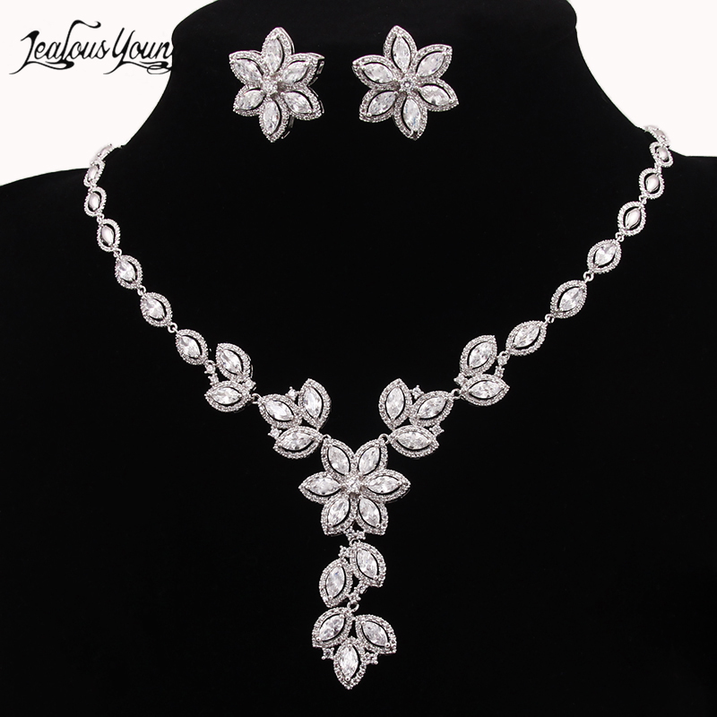 New Wedding Costume Accessories Cubic Zircon Crystal Bridal Earrings And Necklace Jewelry Sets For Brides Bijoux Mariage AS072 rakol 2018 new wedding costume accessories heart shape cubic zircon crystal bridal earrings and rhinestone necklace jewelry set