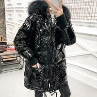 Лакированная кожа Глянцевая зимняя белая пуховая куртка женская большой меховой воротник Длинная парка 2019 Новое поступление теплые женски