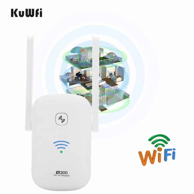 KuWFi 2.4Ghz 300Mbps WiFi Amplifier Repeater Access Point Client Roteador WiFi Range Extender Booster With Antenna 2*3dBi