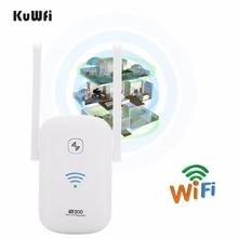 KuWFi 2.4Ghz 300Mbps WiFi เครื่องขยายเสียง Repeater Access Point Client Roteador WiFi Range Extender Booster พร้อมเสาอากาศ 2 * 3dBi