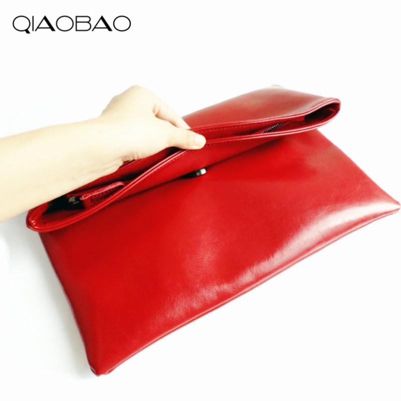 QIAOBAO 100% Natural Cowhide Bag Genuine Leather Women's Clutch Bag Female Cowhide Envelope Bags Designer Flap Bags 100% natural