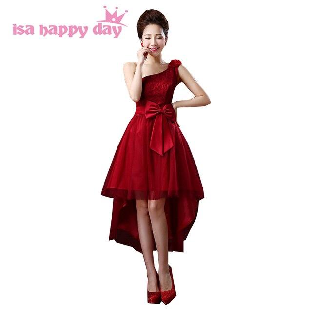 aad264741c97 Tulle abito elegante per le ragazze asimmetrico corto posteriore lungo  anteriore una spalla rosso scuro corsetto