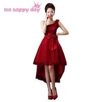 Tulle elegante jurk voor meisjes asymmetrische korte front lange back een schouder dark red corset prom jurken 2017 nieuwe collectie H2693
