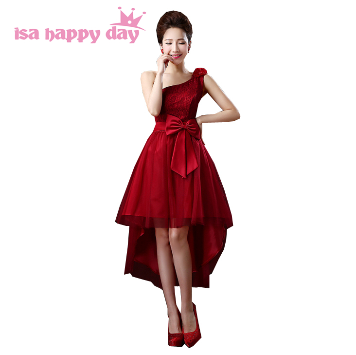 tulle elegant   dress   for girls asymmetric short front long back one shoulder dark red corset   prom     dresses   2019 new arrival H2693