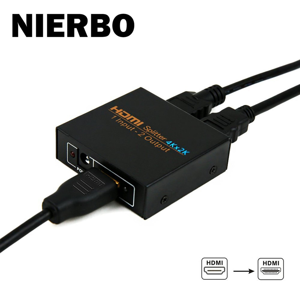 NIERBO HDMI Splitter Switcher 1x2 Duplicator HDMI 4K Switch 1 Input x 2 Output 1080p Full HD 3D for PS4 PS3 XboX Nintendo HDTV new ultra hd 4k hdmi splitter full hd 3d 1080p video hdmi switch switcher 1x2 split 1 in 2 out amplifier dual display 2 color