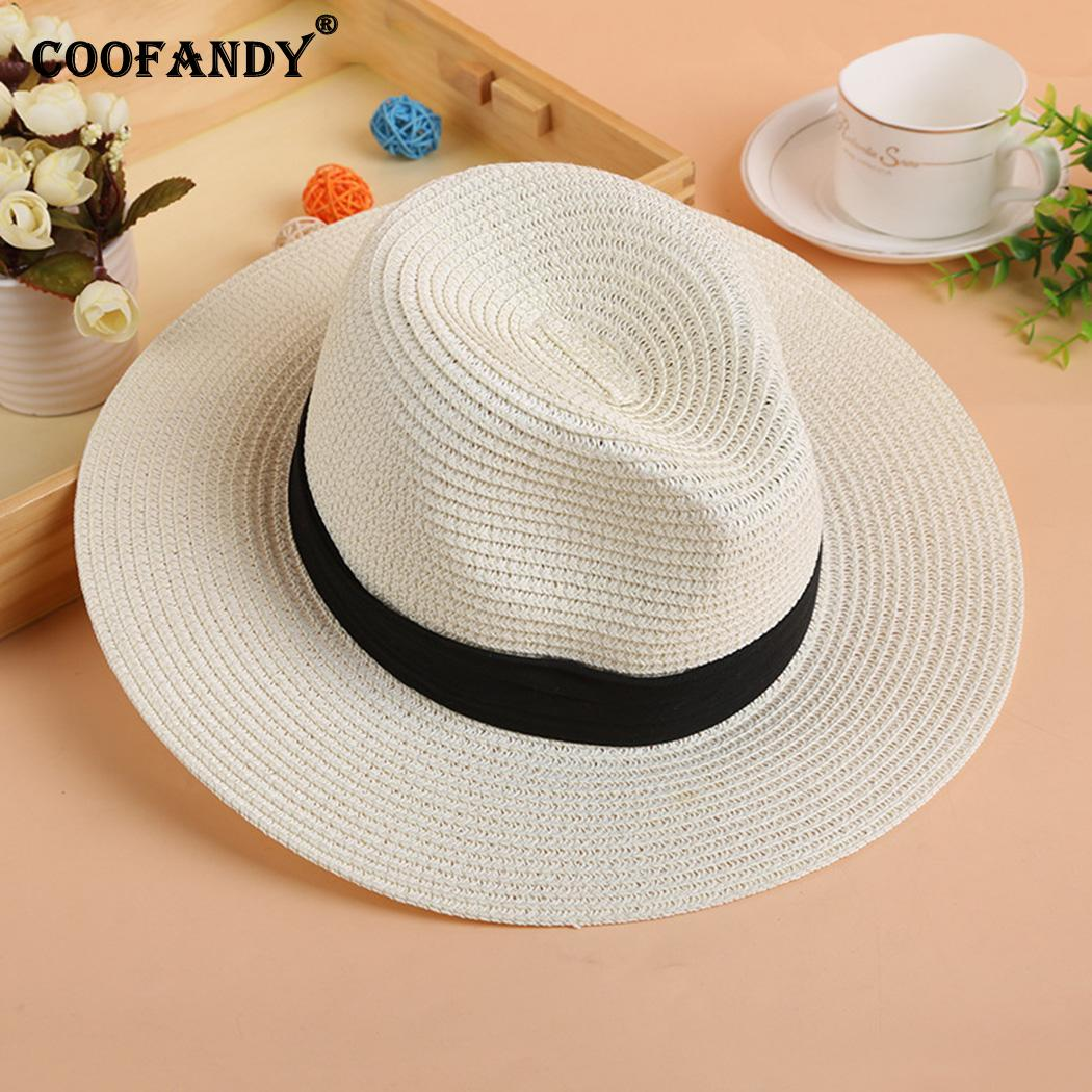 Women Fashion Wide Brim Straw Summer Beach Sun Hat Casual 1PC 11cm/4.3inch Jazz Cap Solid 7cm/2.7inch(China)