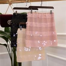 new elegant ladies Temperament Scale sequins manual nail bead word skirt