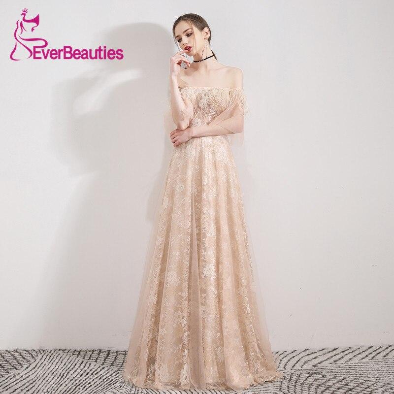 Abiye Gece Elbisesi Robe De soirée longue épaule dénudée luxe Tulle dentelle Robe De soirée femmes Abendkleider 2019