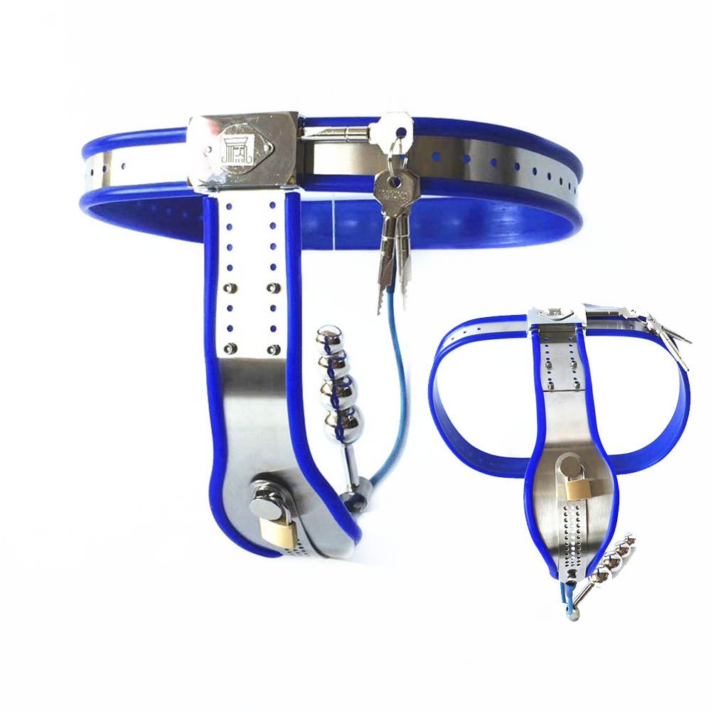 Stainless Steel Male Chastity Belt Cage With Removable Anal Bead Plug Master Slave Lockable Penis Restraint Device Sex ToysStainless Steel Male Chastity Belt Cage With Removable Anal Bead Plug Master Slave Lockable Penis Restraint Device Sex Toys