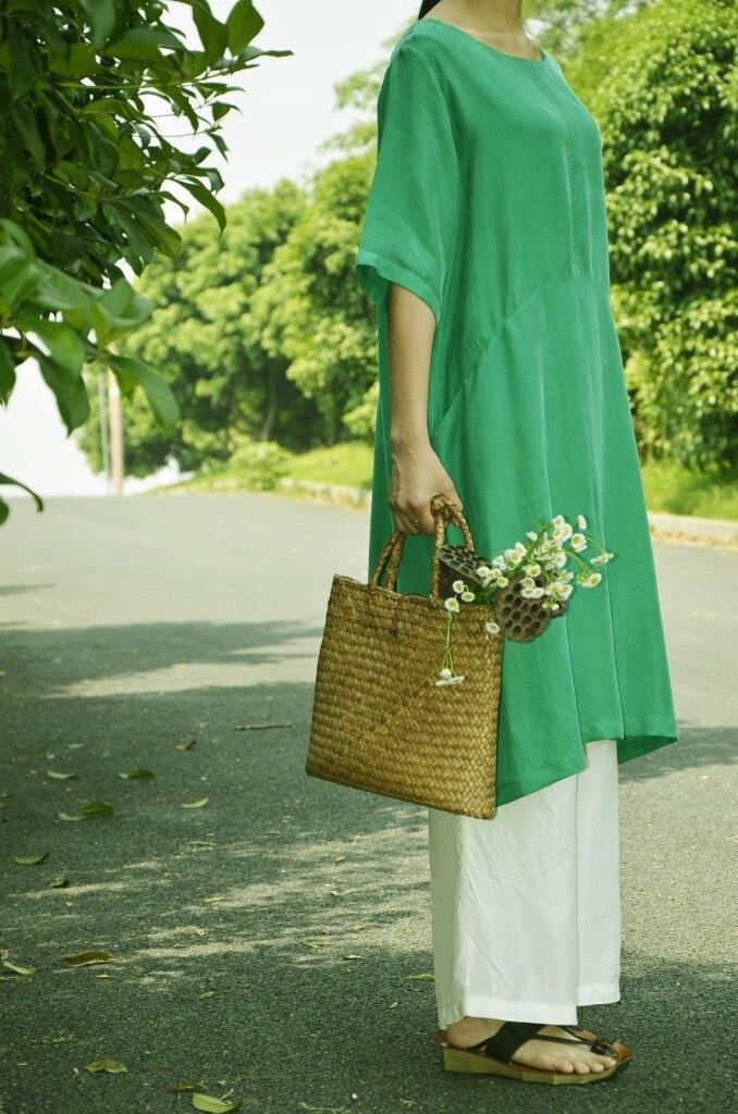 Удобные и дышащие летние блокбастер меди аммиака шелковое платье свободные большие размеры с двойной Платье с карманом 18059-1