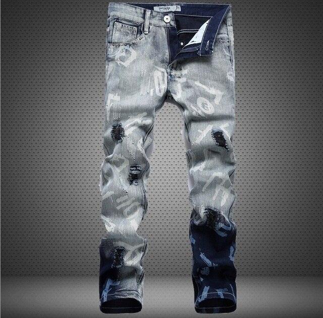 9c619c27b Estilo americano europeo 2015 a la moda brand jeans hombres de calidad de  lujo Men ' s casual agujero pantalón de mezclilla vaqueros delgados rectos  ...