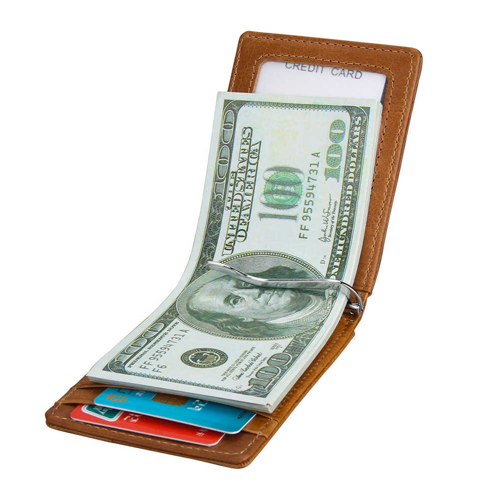 DANJUE RFID Bloqueo de dinero de los hombres Clips de cuero genuino hombres billetera negocios tarjeta de crédito bolsa moda Clips de dólar