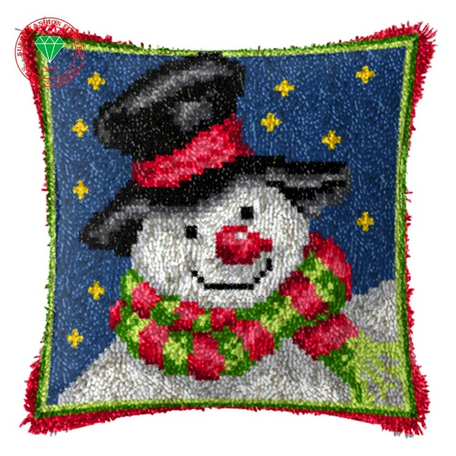 Christmas Snow Latch Hook Rug Kits Needlework Carpet Embroidery Cushion Diy Pillowcase Patchwork Yarn Sch