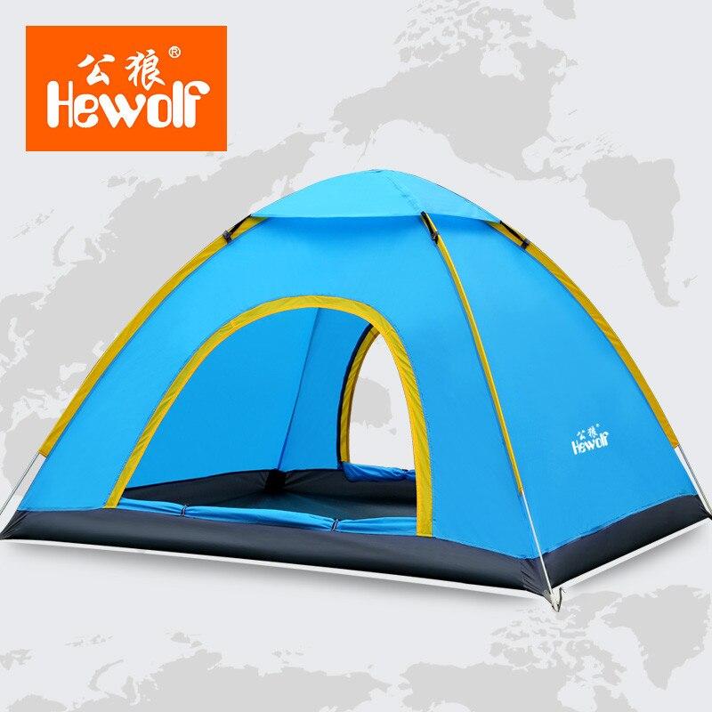 ФОТО Hewolf Ultralight 3-4 Person Quick Open tent Waterproof Fully Automatic Tent 4 seasons anti UV Single Layer Beach camping Tent