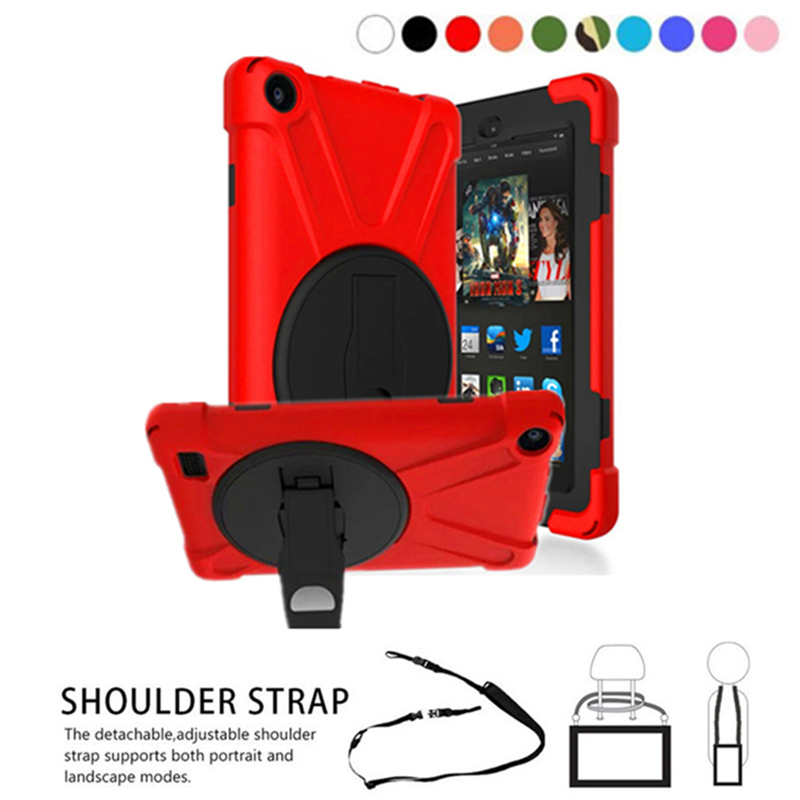 For Amazon Kindle Fire 7 (7th Gen 2017) 3-Layer Rugged PC+Silicone hard Cover Case w/ 360 Swivel Stand, Hand Strap & Neck Strap