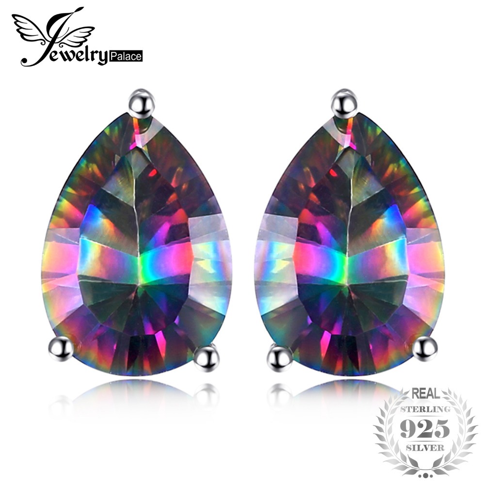 JewelryPalace Pear Concave 4.7ct Genuine Rainbow Fire Mystic Topaz 925 Sterling Silver Stud Earrings For Women Vintage Jewelry