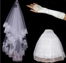 Garen Borduren Kant Handschoenen Fietstassen Kant Bruid Handschoenen En 3 Ringen Witte Petticoat High end Drie Sets Bruid Bruiloft accessoires