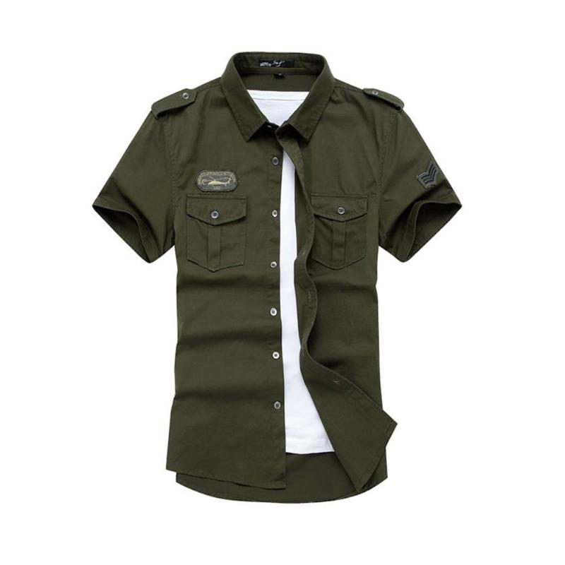 2018 Casual Men Shirt Short Sleeve Pocket Military Camisa Masculina Cool Pure Cotton High Quality Solid Color Loose Cargo Shirts