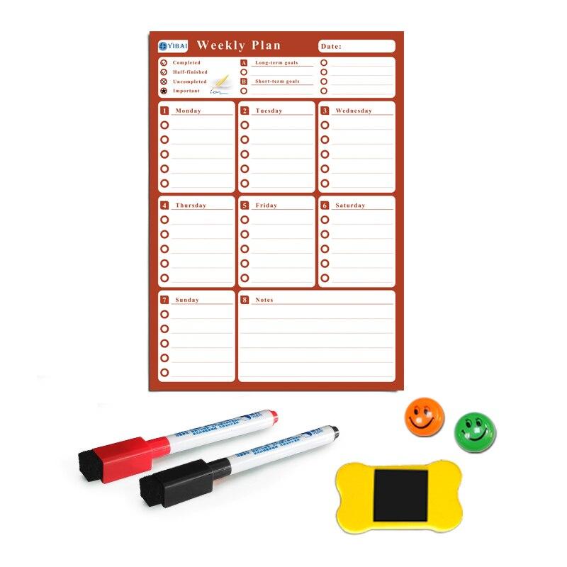 YIBAI A3 Flexible Magnetic board Calendar,30*42cm Dry Earse Magnets Waterproof Plan Message WhiteBoard For Refrigerator Memo