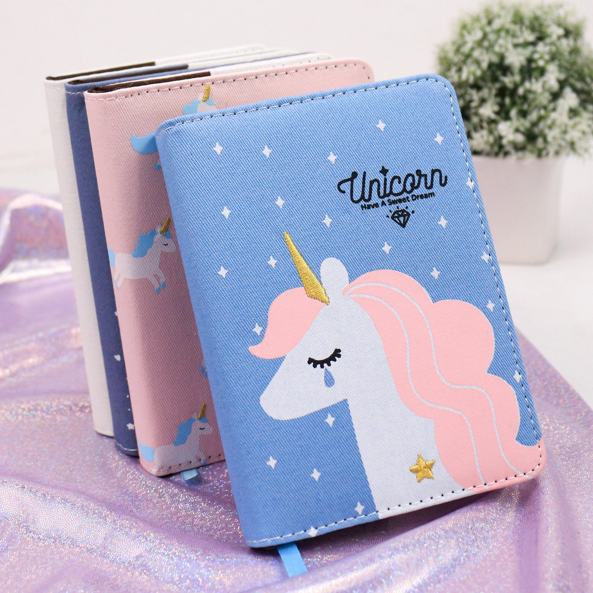 Cute embroider Cartoon unicorn notebook A6 exercise books agenda planner organizer cute diary school Supplies stationery store цена и фото
