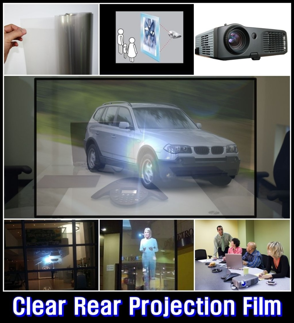 1.52x3 Meter Transparent Rear Projection Film/3D Holo Foil/Holographic Film for advertising display with best view angle 24 dark gray gray white holographic rear projection screen transparent rear projector film indoor hologram advertising