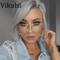Rimless Round Sunglasses Women Pink Clear Vintage One Piece Design Sun Glasses For Women Fashion Party