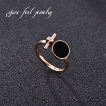 JUST FEEL Unique Famous Brand Luxury Cubic Zirconia 316L Stainless Steel Ring Black Shell Rose Gold Color for Women Jewelry Ring
