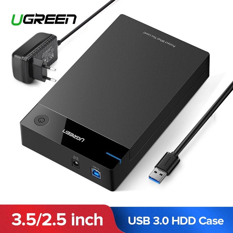 Ugreen 3.5 Caso HDD SSD Con Adattatore di Alimentazione SATA a USB 3.0 per 2.5 pollice Hard Disk Drive Box PS4 di Archiviazione esterna Box e Alloggiamenti per HDD