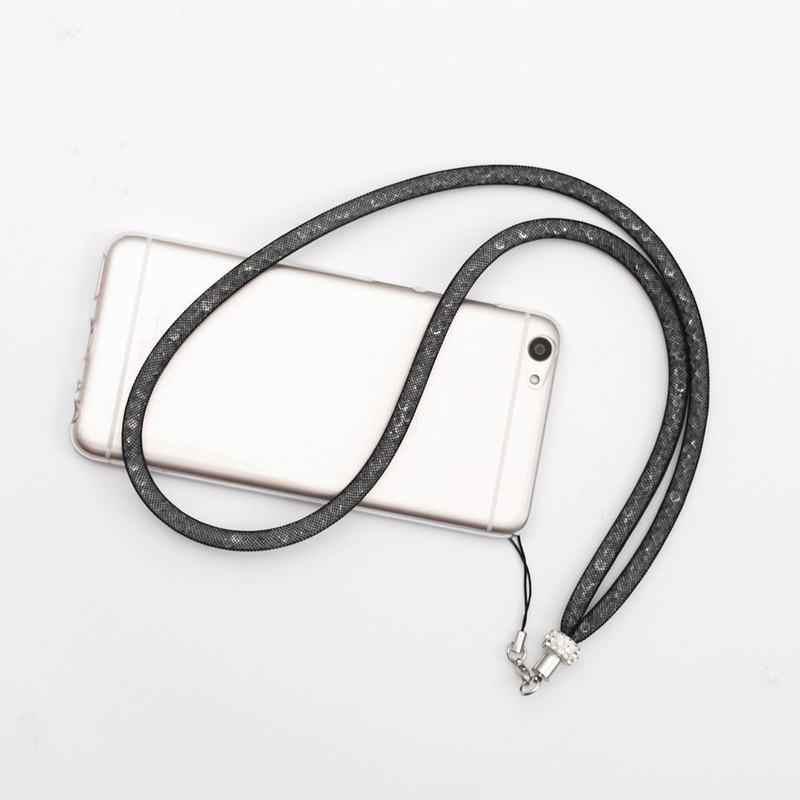 Hsmeilleur Bling Phụ Nữ Pha Lê Cổ Dây Đeo Dây Buộc Vòng Cổ Cho Trường Hợp Điện Thoại Keychain ID Phù Hiệu Tên USB Ổ Đĩa Flash Chủ Dây