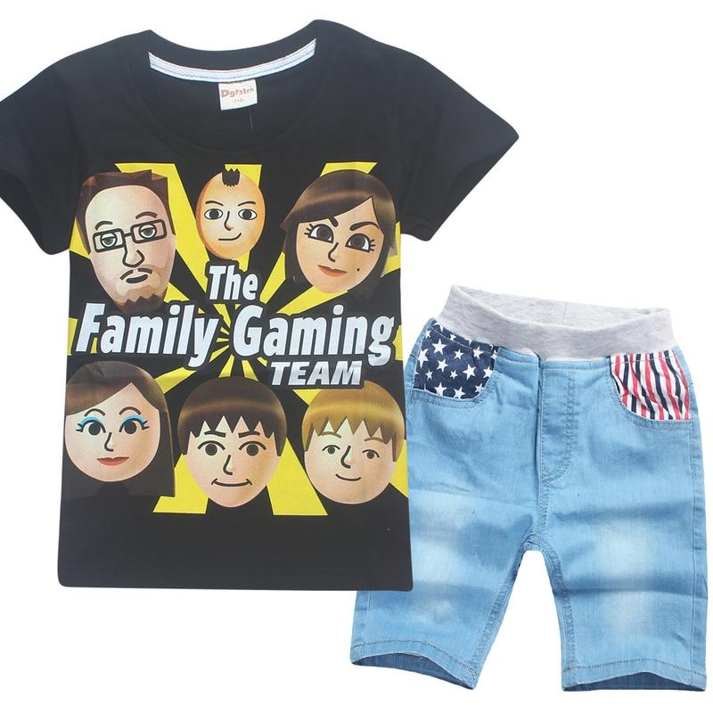 Summer 2018 Family Face Kids Clothes Set for Boys Girls Tops Tees Family Gaming Teens Siwa Roblox Clothing T-shirt + Pants