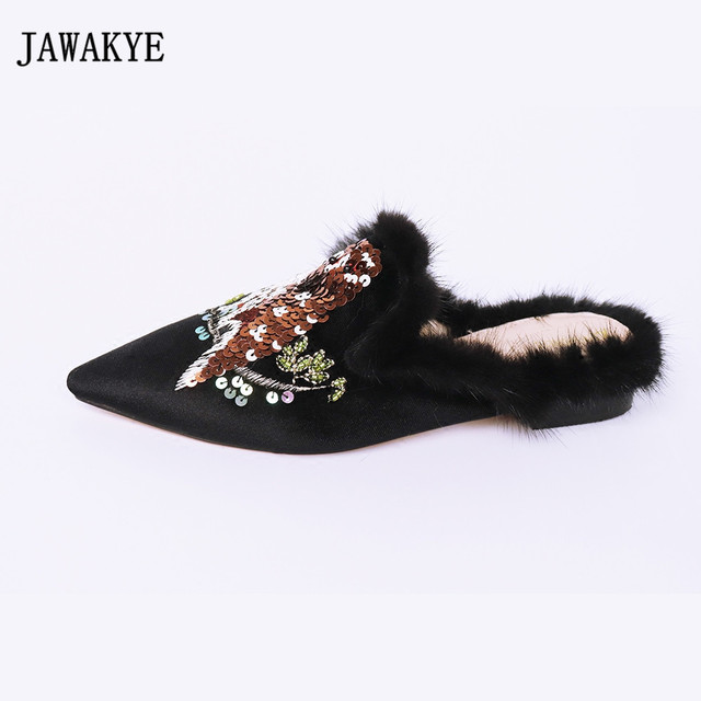 JAWAKYE Pointed Toe Embroidered Flat Fur Slippers Velvet Mules Flip Flops  Outdoor Slip on loafers creeper Flat Shoes Women f6ad387048fe