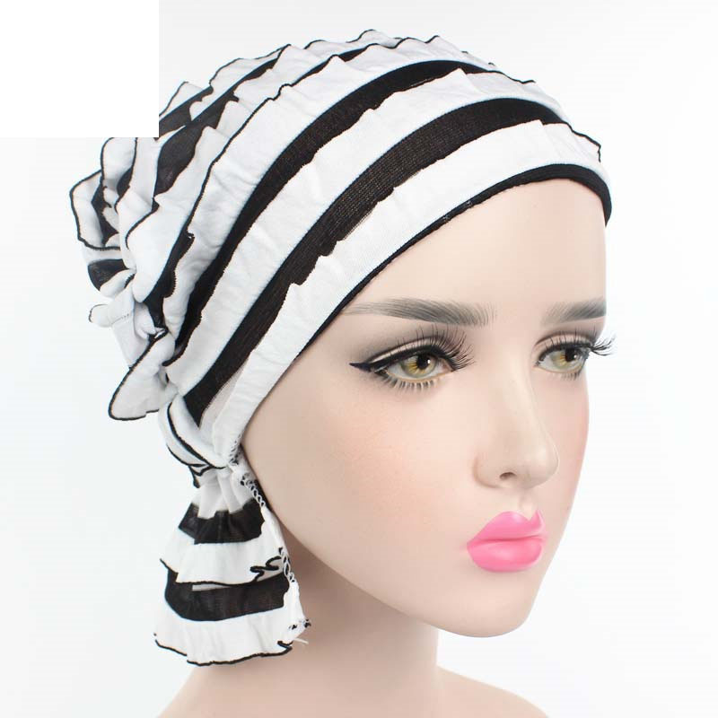 Nice cc.amily Women Ladies Casual Beanies Hats Flowers Floral Printing Fashion Muslim Head Scarf Caps Fs0362