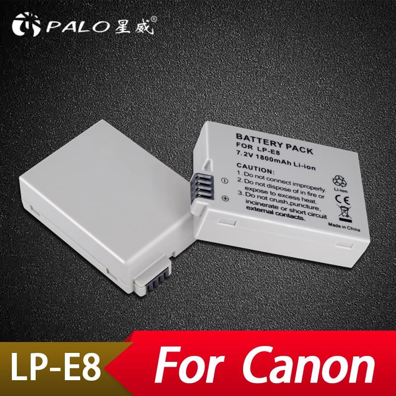 Palo 2pcs LP-E8 Battery pack bateria LP-E8 lp e8 For Canon 550D 600D 650D 700D X4 X5 X6i X7i T2i T3i T4i T5i DSLR Camera