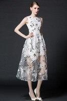 S-XXL vestidos de fiesta de Verano Elegante de la Marca Mujeres hilo Largo Vestido de la Impresión Floral Vestidos de Partido Sin Mangas Delgado Runway vestido