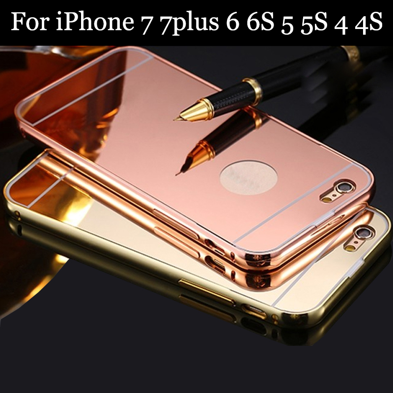 Mirror case for iphone 7 7plus 6 6s 5 5s 4 4s metal for Application miroir iphone