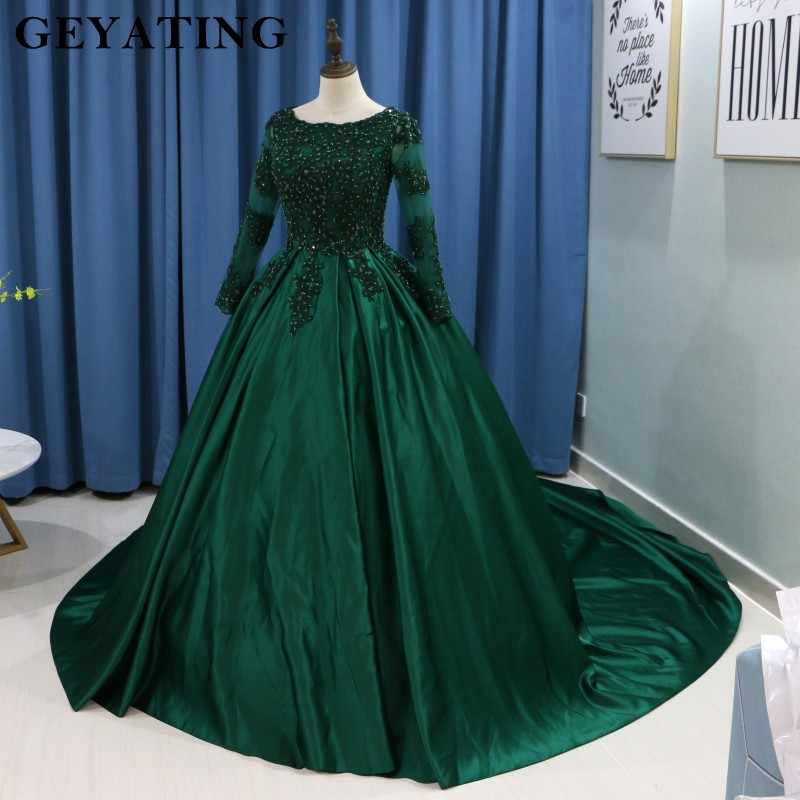 5fee0975c92 ... Emerald Green Lace Long Sleeves Muslim Wedding Dress 2019 Ball Gown  Princess Bride Dresses Islamic Satin ...