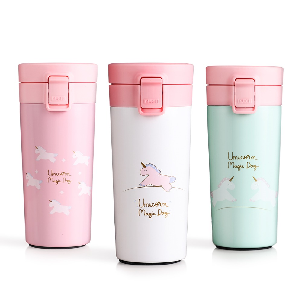 Cute Cartoon Unicorn Vacuum Flasks Portable Travel Vacuum Flask 304 Stainless Steel Portable Water Bottle Insulation Cup 400ml