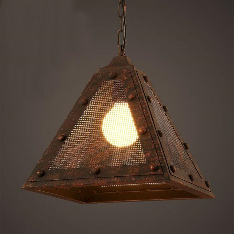 Loft Style Triangular Geometry Dining Room Pendant Lights Vintage Iron Cafe Light  Bar Lights Rail Network Light Free Shipping loft vintage edison glass light ceiling lamp cafe dining bar club aisle t300