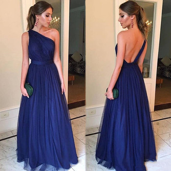 Cheap Royal Blue Evening Dresses Long 2020 robe de soiree One Shoulder Backless Prom Gowns A Line Handmade Formal Party Dress