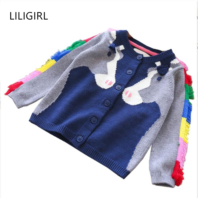5d2abbb6b Kids Brand Unicorn Knit Sweater for Girls Warm Tops Jacket Clothes ...
