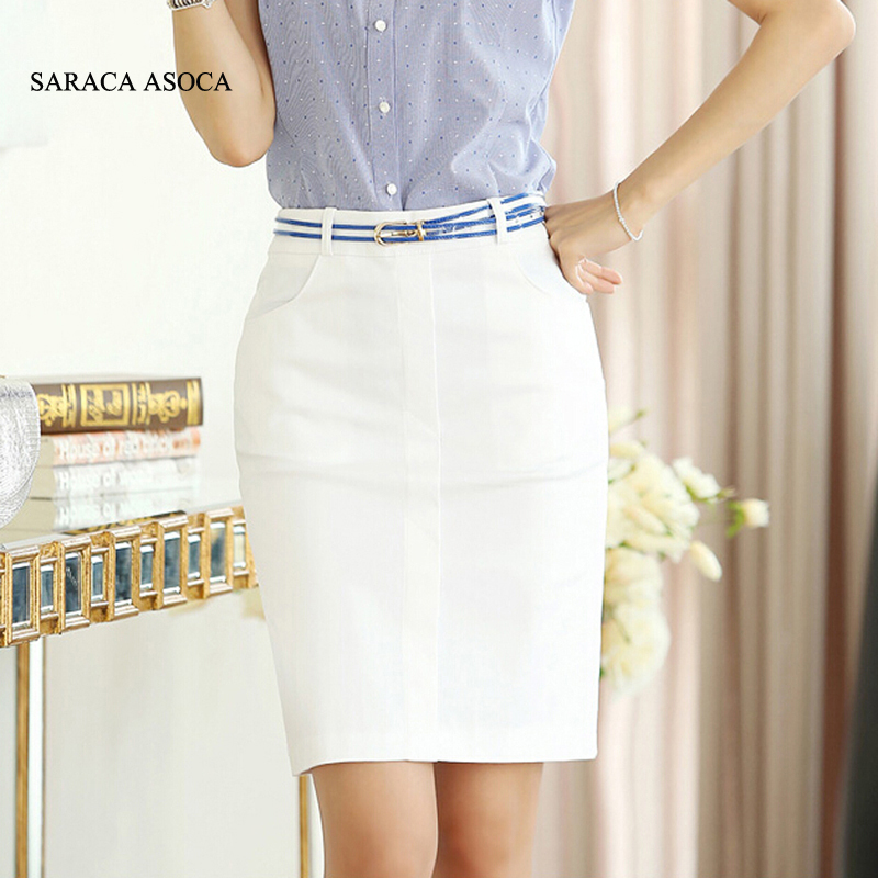 Summer Solid High Waist Straight Bust Skirts Ladies White Color Pockets Work Skirt For Women's