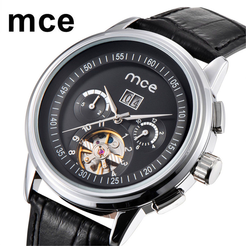 2018 MCE Mens watches Top Brand Luxury Automatic mechanical watch tourbillon clock leather Casual business wristwatch relojes mce gold skeleton stainless steel designer mens watches top brand luxury automatic casual mechanical watch clock men wristwatch