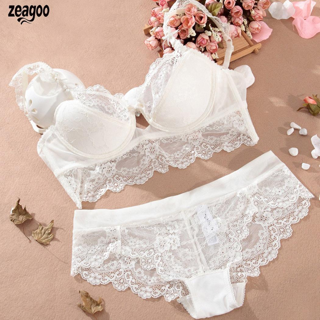 Women Casual Lace Floral Under Wired Back Buckle   Bra   Panties   Set     Bra     Set