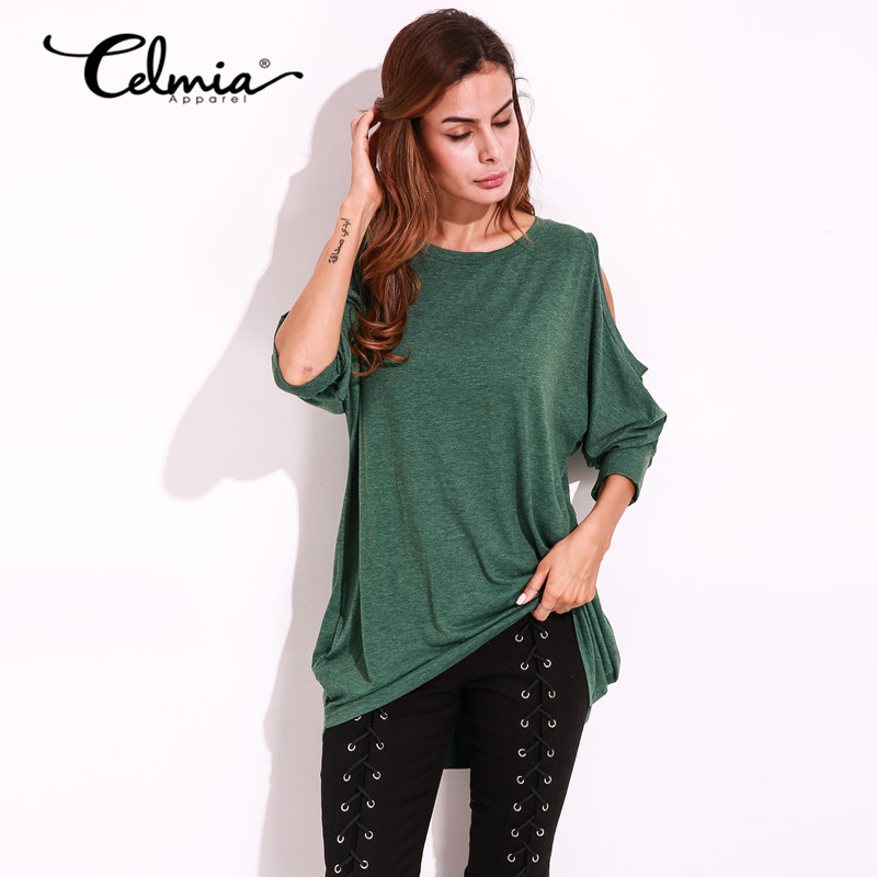 2c3e3a01c40d Celmia Solid Design T Shirt Women Long Sleeve Cold Shoulder Tops 2018 Loose  Tee Sexy Ladies Round Neck Cut Out T shirt Plus Size-in T-Shirts from  Women s ...